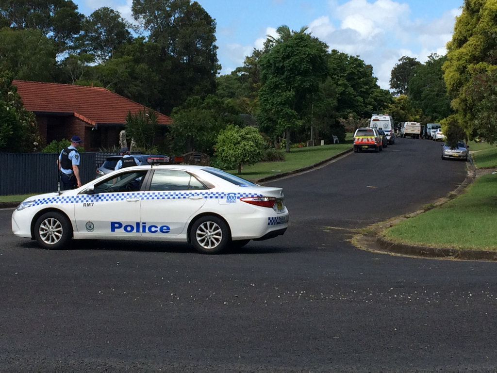 Police on the scene of a breaking incident in Goonellabah.