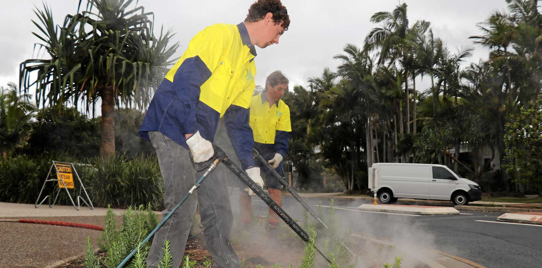 Byron Shire Council staff using the new steam-powered weeder sprayer.