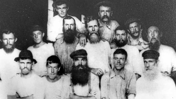 Staff of William Pettigrew's sawmill at Maroochydore didn't mind some facial hair in 1890.