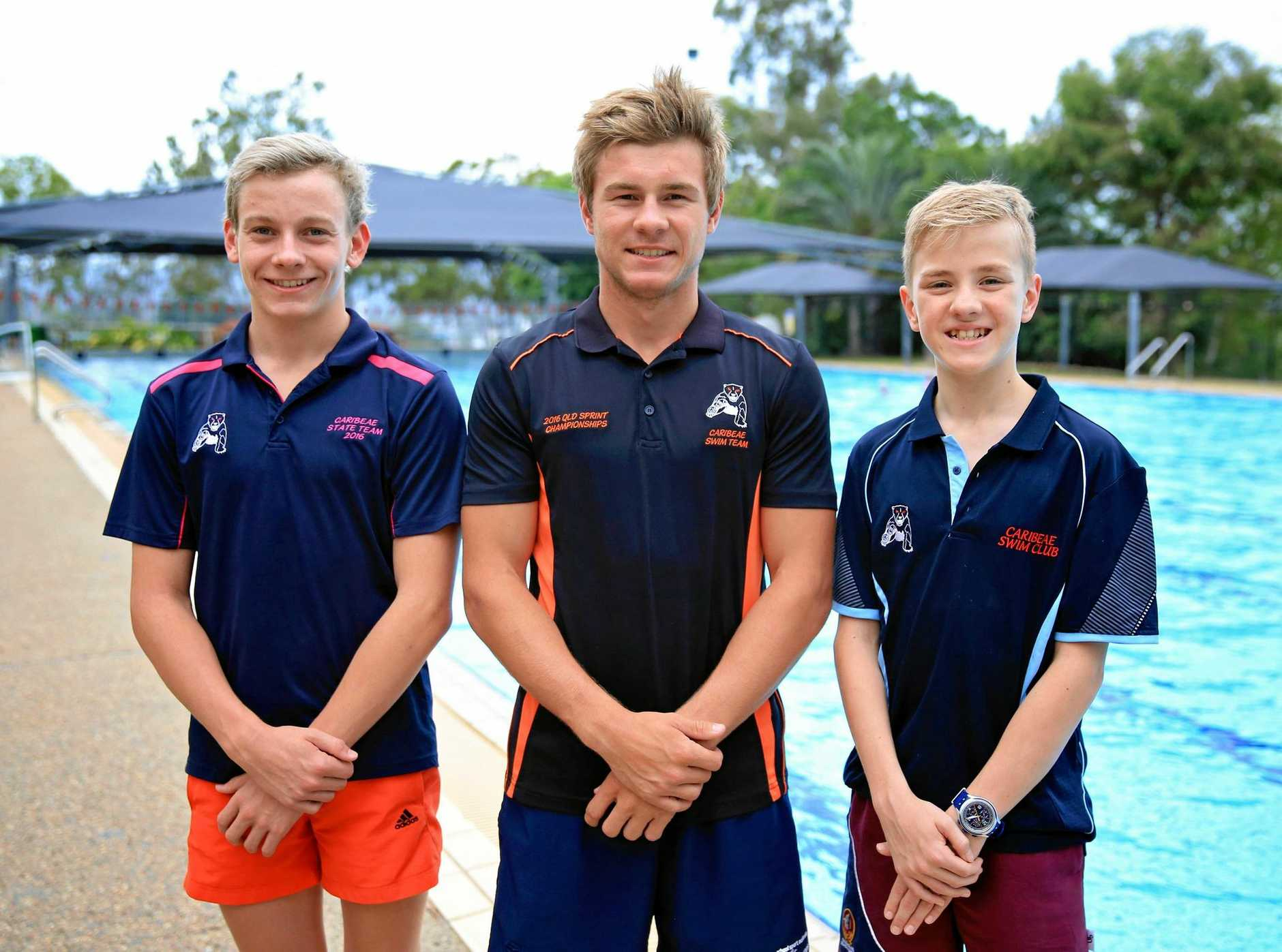 READY TO RACE: Rockhampton Grammar trio (from left) Joe Milburn, Jacob Spark and Will Salmond will hit the water at the Pacific School Games this weekend.
