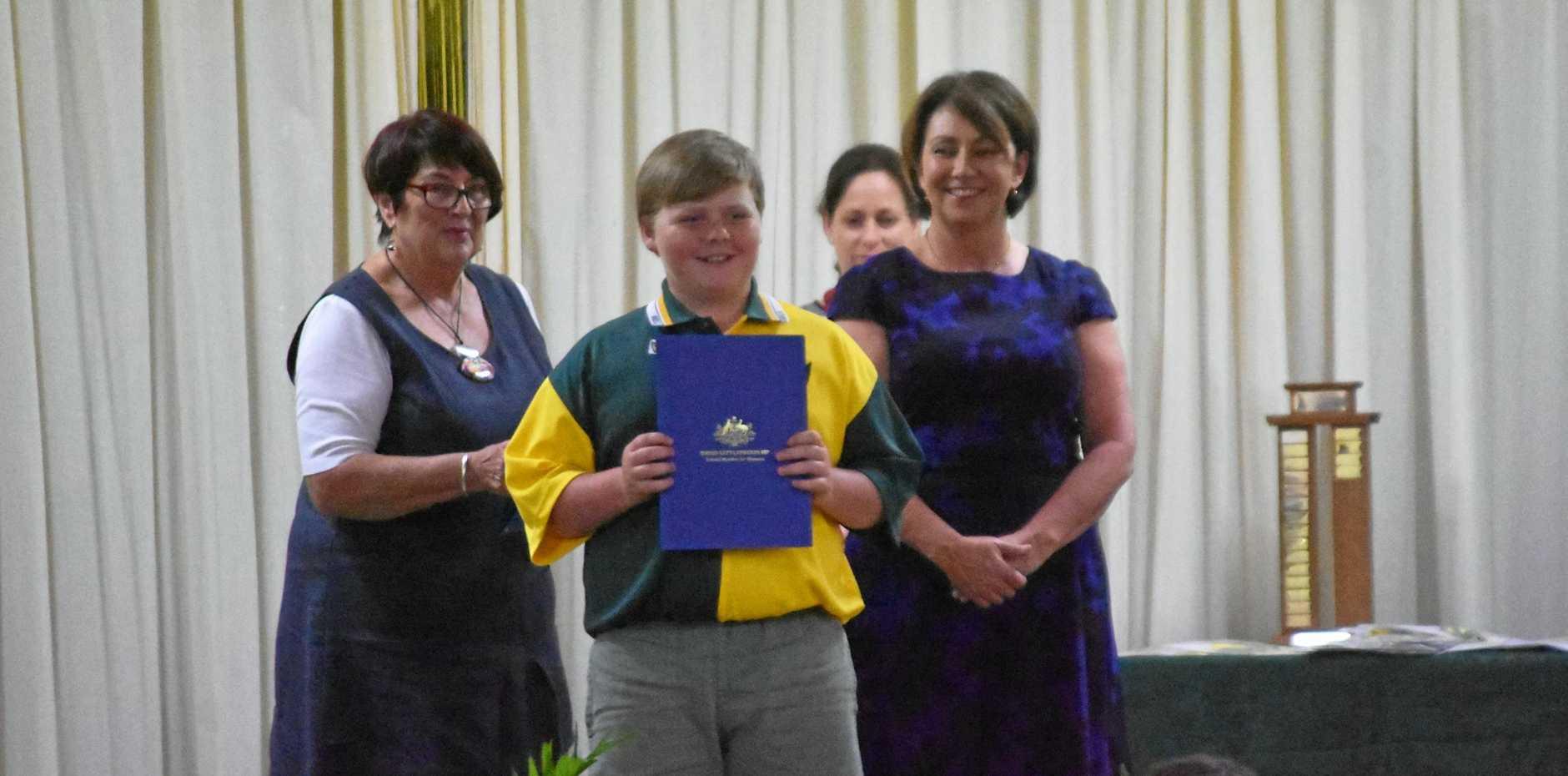 PROUD: Patrick Coleman with the David Littleproud Merit Award.