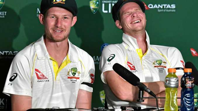 Cameron Bancroft and Steve Smith feeling pretty happy with themselves after Australia's win over England last week in the first Test.