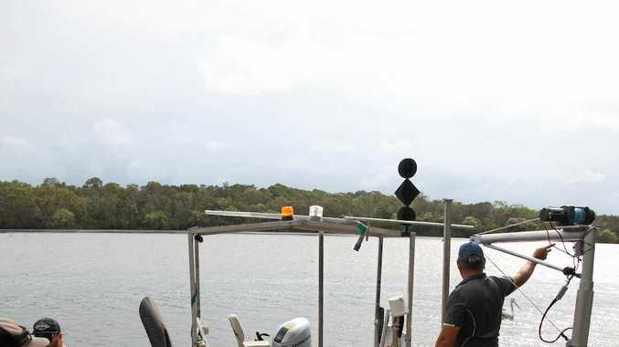 WORK: University of the Sunshine Coast researchers install oyster reefs in the Noosa River.