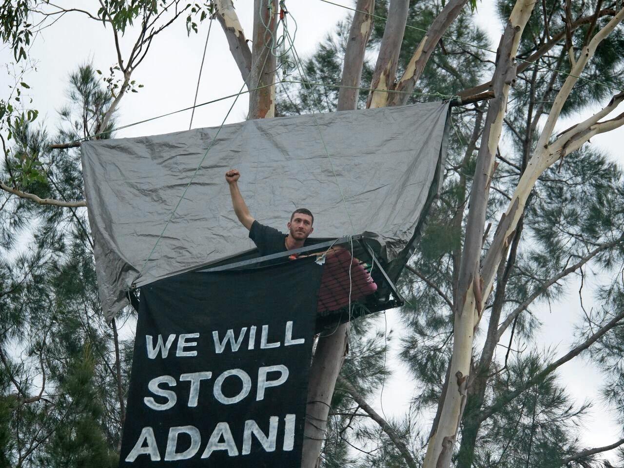 Andrew Brodzeli blocking Bogie River Rail Bridge today.