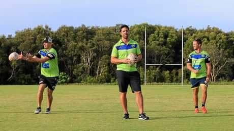 Brent Kite starts pre season training with some of his players, Guy Lanslon and Jamie Donaldson.