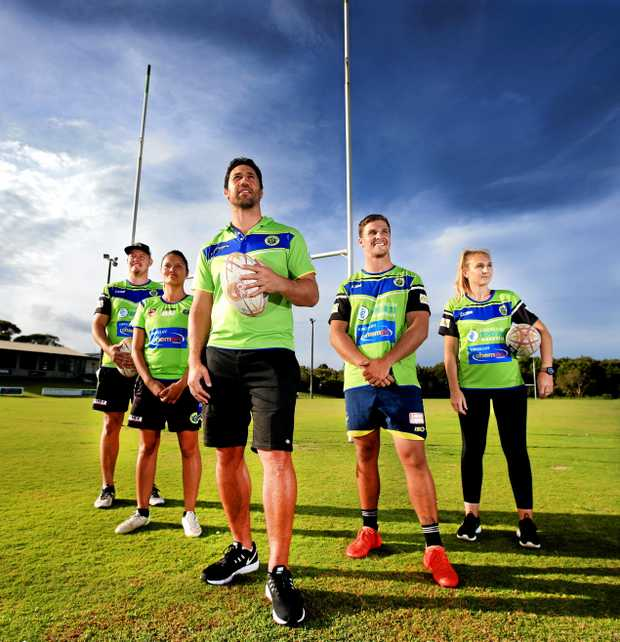 TOP SCORE: Tweed Coast Raiders' new coach, former NRL star Brent Kite (centre), starts pre-season training with some of his players - Guy Lanslon, Bridey McNeven, Jamie Donaldson and Kristin Milloy.