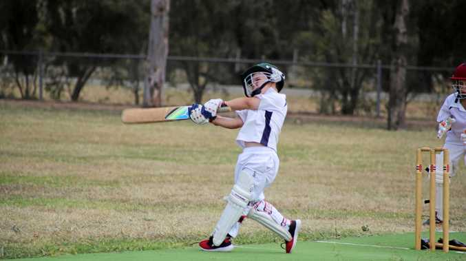 U12 cricket player of the final Hugh Inmon hits hard. Photo: Deanna Millard/Warwick Daily News