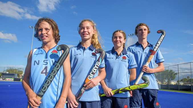 GOALS ON THE HORIZON: Grafton Hockey Association stars Keaton Stutt, Mackenna Ensbey, Grace Young and Jake Lambeth are off Pacific School Games for hockey.