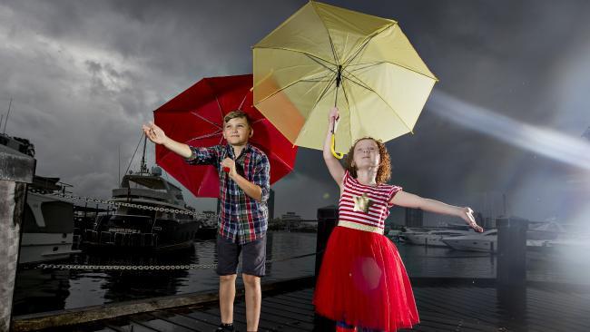 Boston Searing and Harper Palmer are braced for the rain Picture: Jerad Williams