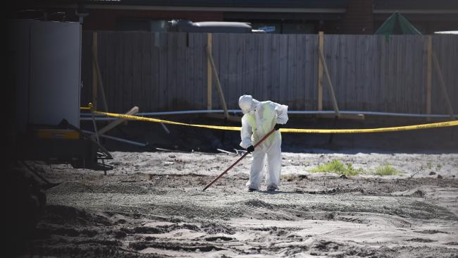 Asbestos clean-up after it was discovered at a kindergarten site in Melbourne where children had been playing. Picture: Chris Eastman