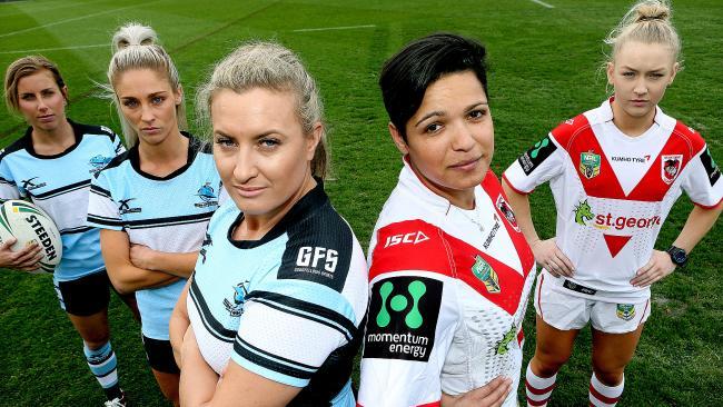 Sam Bremnar, Allana Ferguson, Ruan Sims, Jasmine Sarin and Rikeya Horne played in a historic Sharks v Dragons women's clash.