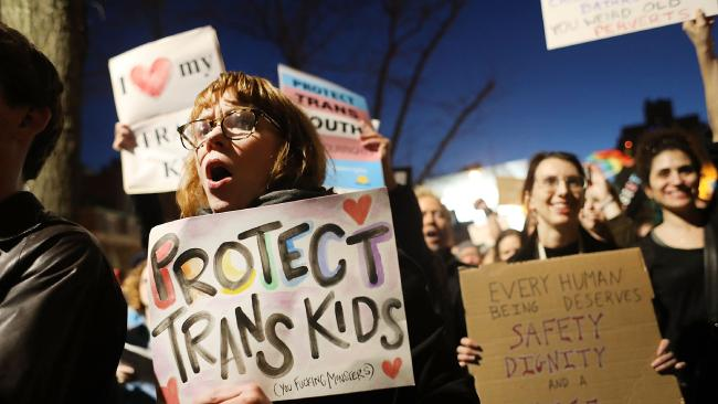 Protest... Hundreds protest a Trump administration announcement this week that rescinds an Obama-era order allowing transgender students to use school bathrooms matching their gender identities