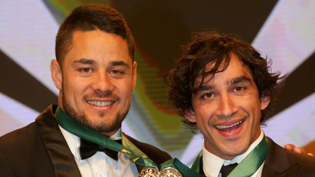 Jarryd Hayne and Johnathan Thurston shared the limelight in 2014 when they were named joint winners of the Dally M Medal. Picture Gregg Porteous