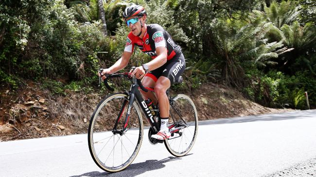 Richie Porte on a solo effort up the Sideling during training in his home town of Launceston, Tasmania. Picture: Michael Klein
