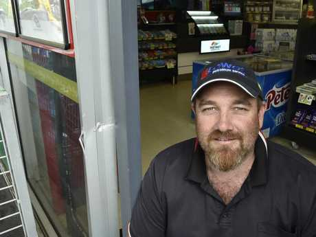 Owner of BP Bridge and Mary Sts, Damien West remained upbeat after early morning ram raid at the service station. The thieves took only ice-creams and chocolate. December 2017