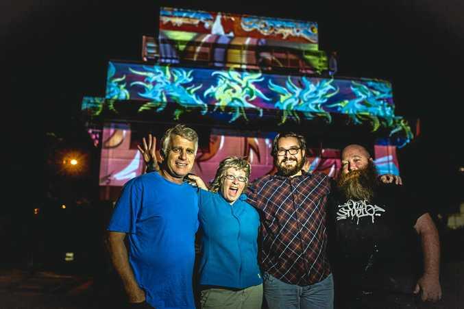 ART IN LIGHTS: Renowned sand painting artist John Thiering, digital artist  Di James, Light Box Festival Director Dave Horseley and street artist Ash Johnston.