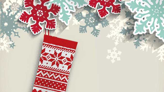 knitted christmas stocking with abstract snowflakes on beige background, vector illustration, eps 10 with transparency and gradient meshes