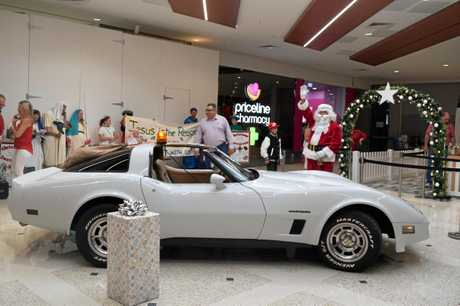 Santa arrives at his destination, ready to greet the crowds.