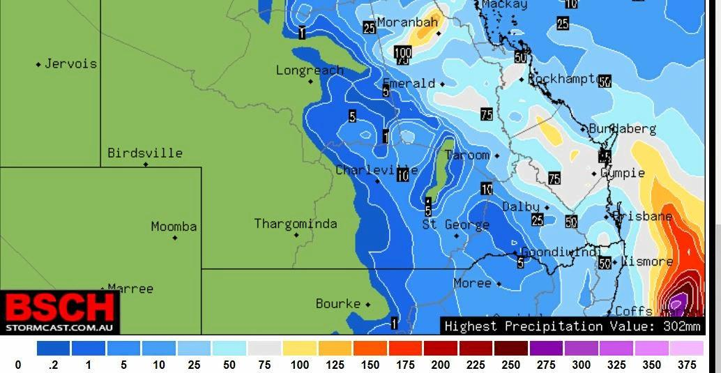 Rain forecast for Saturday to Monday across Central Queensland.