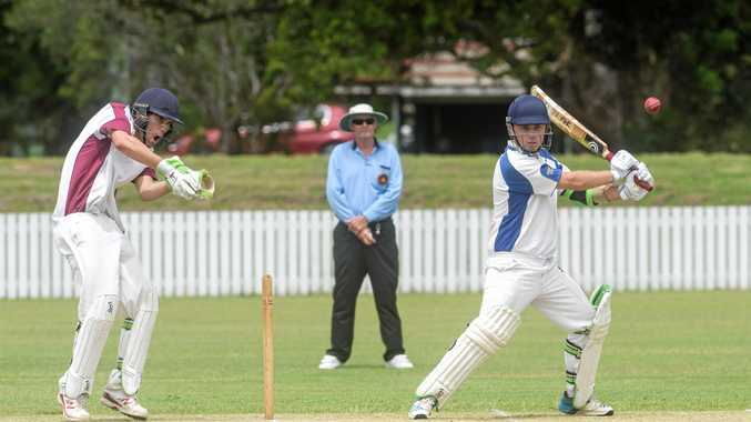 RUN FLOW: Matt Farrell hits a cut shot into the air on the offside for Harwood in Premier League cricket at Harwood Oval.