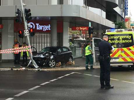 The crash scene which has affected traffic at a very busy city intersection. Picture: Mitch Mott