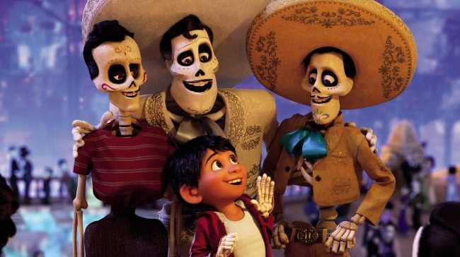 Miguel (front, voiced by Anthony Gonzalez) is a young boy transported to the Land of the Dead in search of his idol Ernesto de la Cruz (centre). Picture: Disney Pixar.