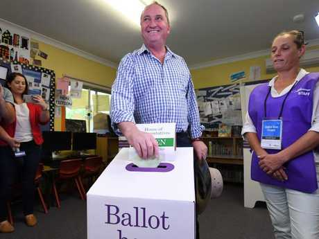 The former deputy PM casts his vote.