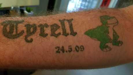 Arm tattoo of nephew Tyrell on Danial.