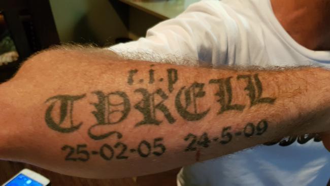 Arm tattoo of nephew Tyrell on Bradley.