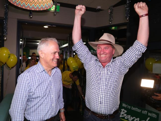 PM Malcolm Turnbull joins Barnaby Joyce to celebrate the former — and next — deputy PM's win in the New England by-election. Picture: Lyndon Mechielsen/The Australian