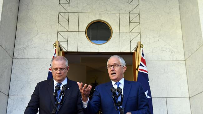 Treasurer Scott Morrison and Prime Minister Malcolm Turnbull initially resisted the idea of a royal commission into the banks. Picture: Mick Tsikas / AAP