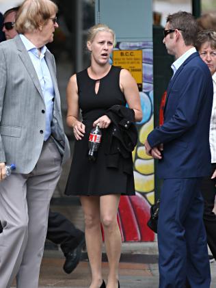 Heidi Strbak with family at court.