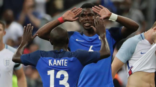 France's Paul Pogba (second right) will be a handful for the Socceroos' defence.