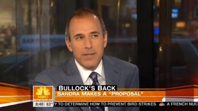 Lauer repeatedly brings up Bullock's scene where she appears almost completely nude. Picture: YouTube.