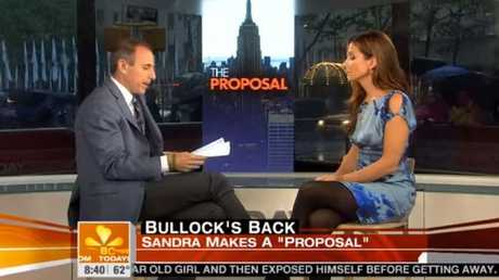 When Lauer asks if he mentions Bullock was naked in the film she says, 'Pretty much from the time you opened your mouth'. Picture: YouTube.