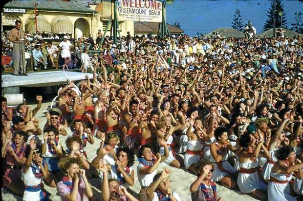 HOLIDAY FUN: Hokey Pokey contest Greenmount Beach 1953. Photographer C. G. Simpson
