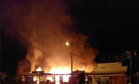 INFERNO: A fire destroyed a store in Bluff yesterday morning. Police are investigating the suspicious blaze.