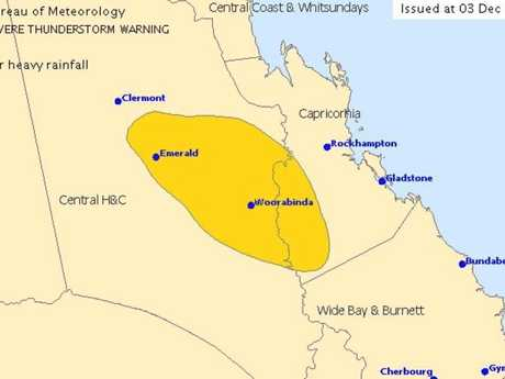 A severe weather warning has been issued for parts of CQ this morning.