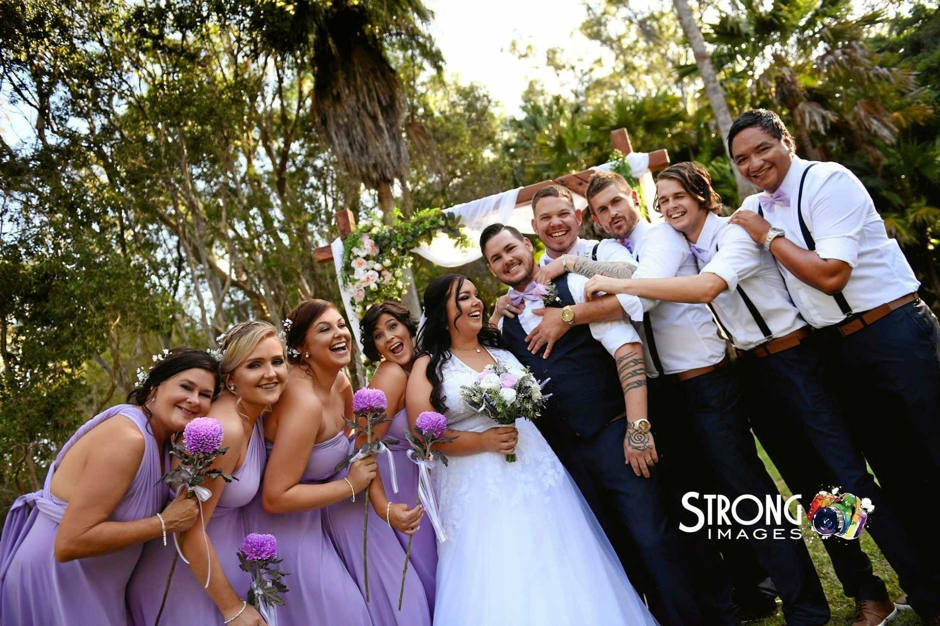 SAD TURNED HAPPY: Alyssa-Jane Gale, 21, and Parkah Gale, 25, got married at Gladstone's Tondoon Botanic Gardens on October 7.