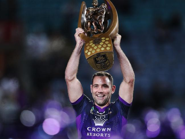 Cameron Smith celebrates after winning the 2017 grand final.
