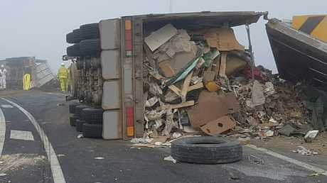A truck toppled over transporting NSW waste to Queensland to be buried. Police are increasingly concerned at the number of crashes involving waste trucks.