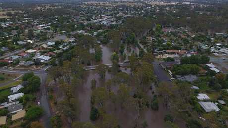 A drone image of the floods in Euroa, which was taken on Saturday. Picture: Anthony Chisholm.