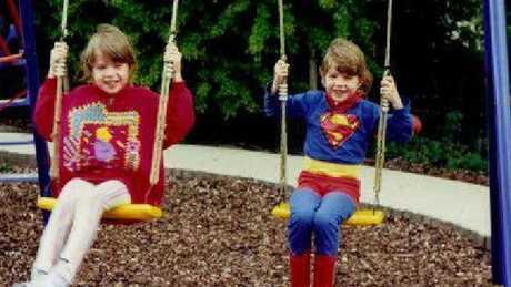 Barbie and Superman: Sarah and Rosie as kids. Picture: Facebook/Sarah Nunn