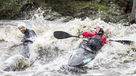They took advantage of the weather to ride the river's rapids. Picture: Sarah Matray
