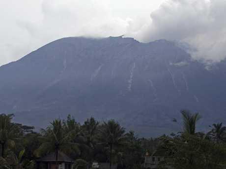 Mount Agung spews volcanic ash into the air in Karangasem, Bali. Picture: AP
