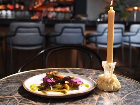 Taste sensation: Grilled swordfish, charmoula, golden beetroot sauce, heirloom carrots at Fred's. Picture: Keri Megelus
