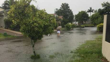 FLOODED: Floodwaters have started to inundate Kearan Biffin's street on the Glenfields side of Mountain Creek.