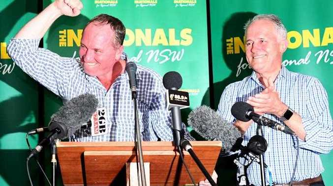 Barnaby Joyce and prime minister Malcolm Turnbull celebrate at The Nationals Party at West Tamworth Leagues Club in Tamworth on Saturday, December 2, 2017. Former Deputy PM Barnaby Joyce is campaigning in his former seat of New England.