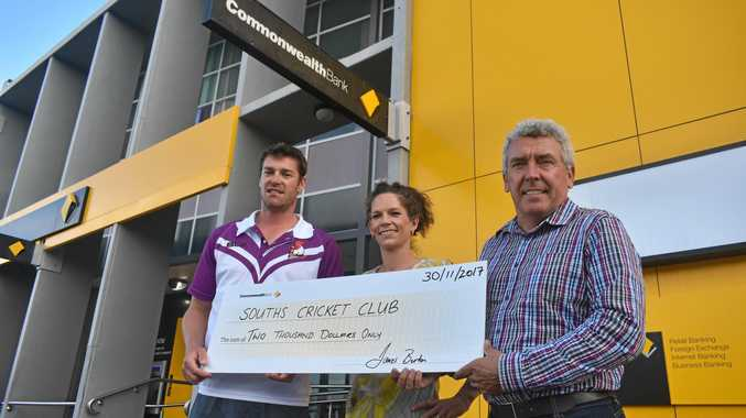 Souths cricket captain Scott Hilton with branch manager Kari MacDonald and executive manager of agribusiness James Burton.
