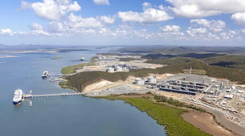 An aerial view of the three LNG plants at Curtis Island.
